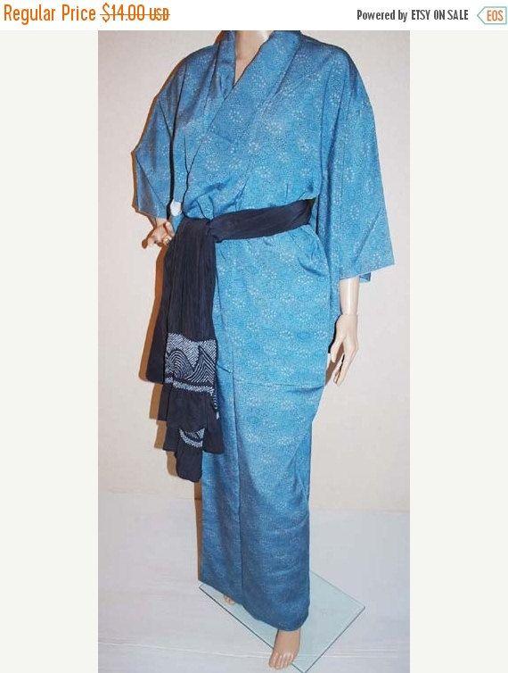 Blue Kimono Japanese Kimono Robe Kimono by KimonoFujiyamarock