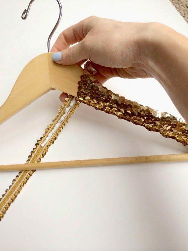 DIY gold sequin hanger                                                                                                                                                                                 More