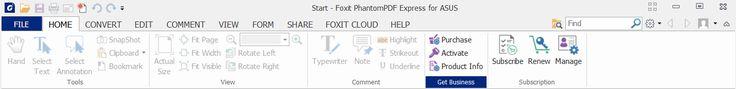Screenshot of the Menus for Foxit PhantomPDF for Asus (Windows 10).  Taken on 20 March 2017.