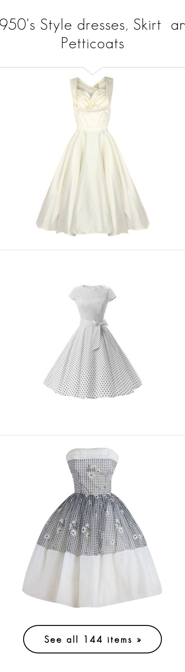 """""""1950's Style dresses, Skirt  and Petticoats"""" by jewelsinthecrown ❤ liked on Polyvore featuring dresses, vintage, robe, short dresses, short white dresses, white dresses, mini cocktail dress, vintage cocktail dresses, white prom dresses and cap sleeve polka dot dress"""