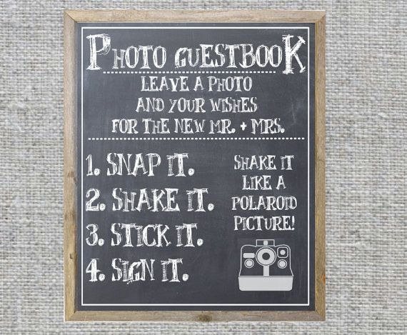 Polaroid guest book instructions shake it by CasualCalligraphyLiz