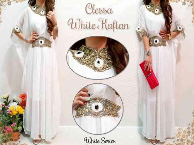 Clessa Kerancang kaftan (White Series) s@125 e@130 Matt,Chiffon+full furring (Good Quality)
