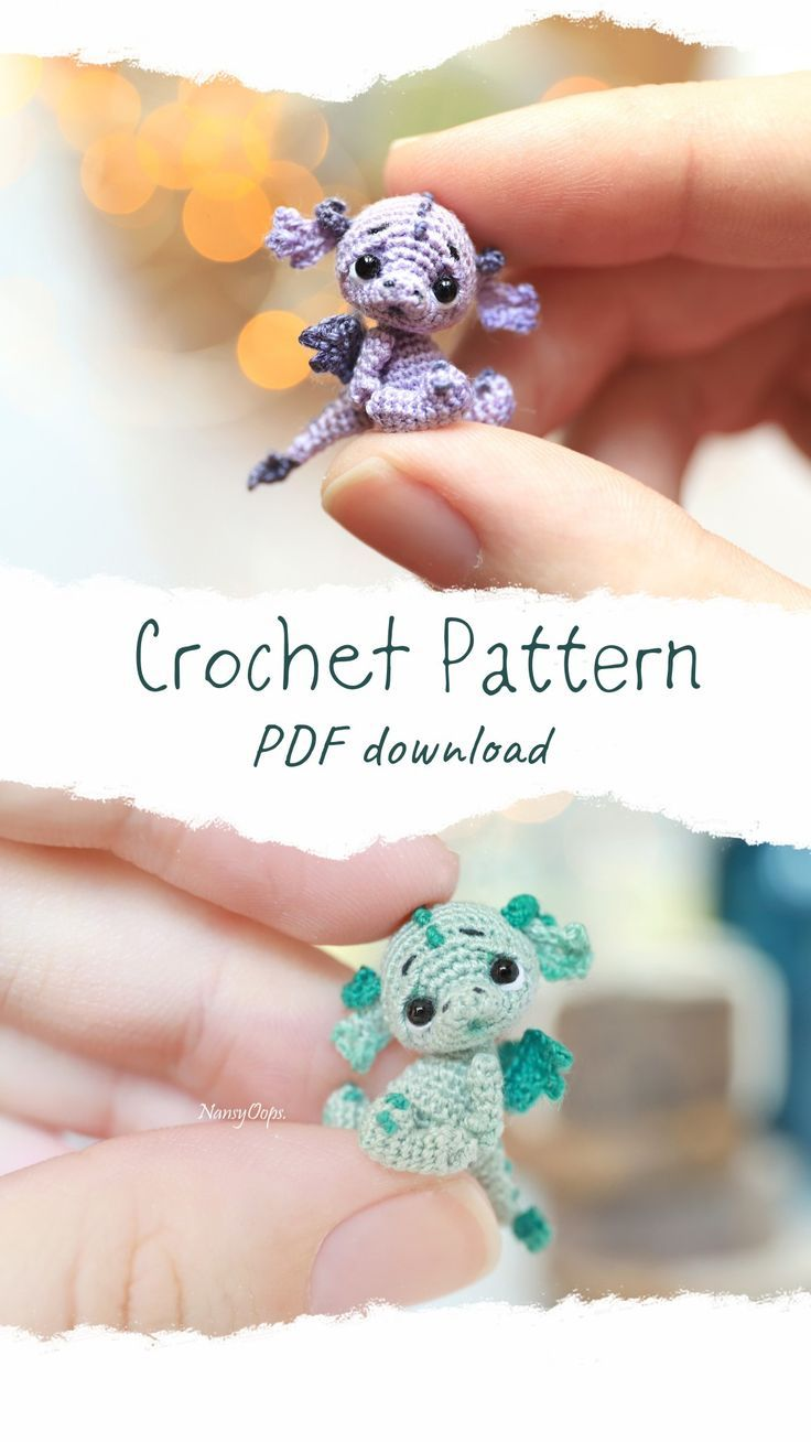 Crochet dragon pattern amigurumi miniature toy – C…