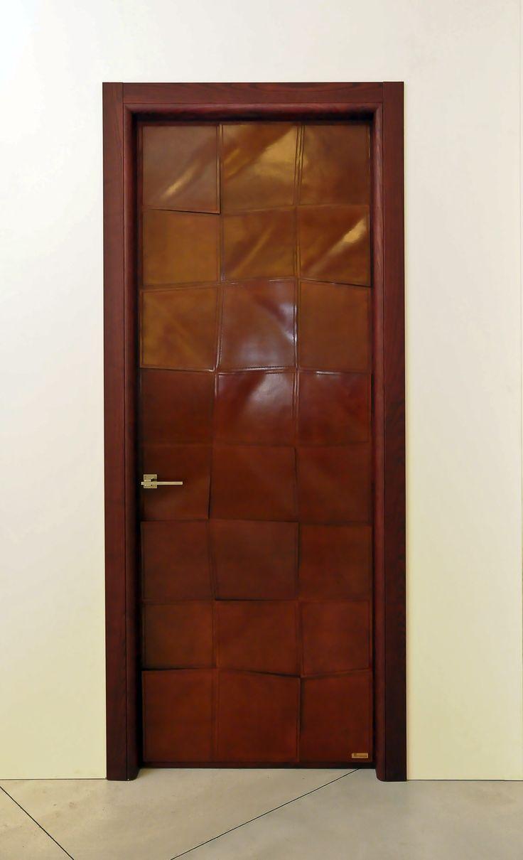 Oak wood door with leather