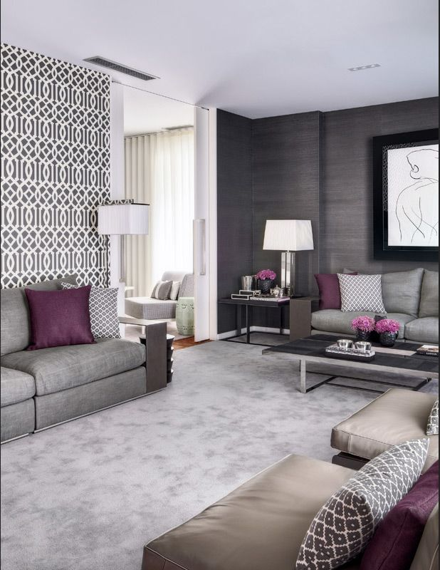 1000 ideas about purple grey rooms on pinterest purple - Purple black and grey living room ...