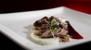 Jake and Elle: Confit Duck with Artichoke PurÉe and Balsamic Sauce