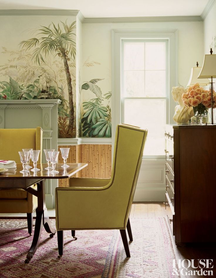 Wing Chairs Covered In A Bright Citrus Leather Accent Massachusetts Dining Room With Scenic Wallpaper