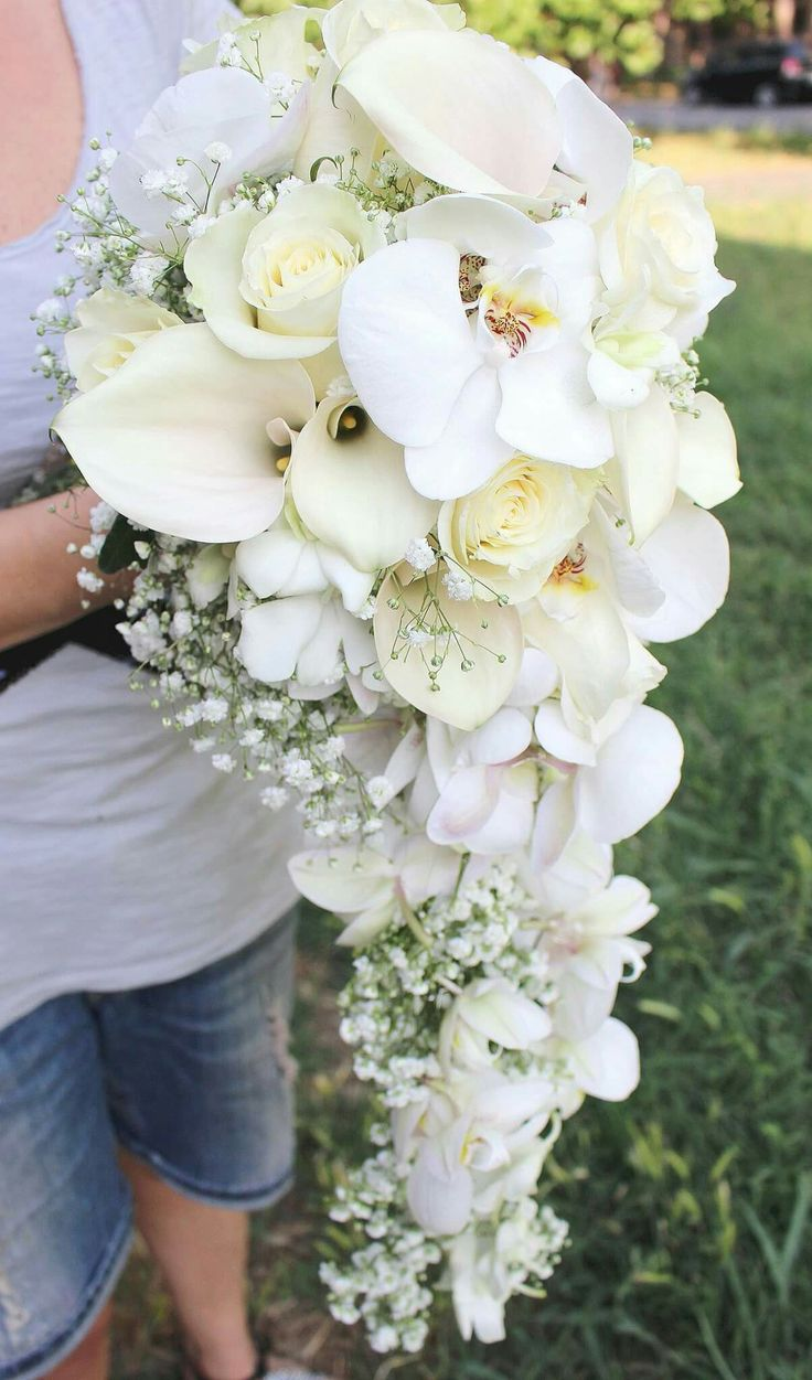 Bouquet calle rose orchidee, total white