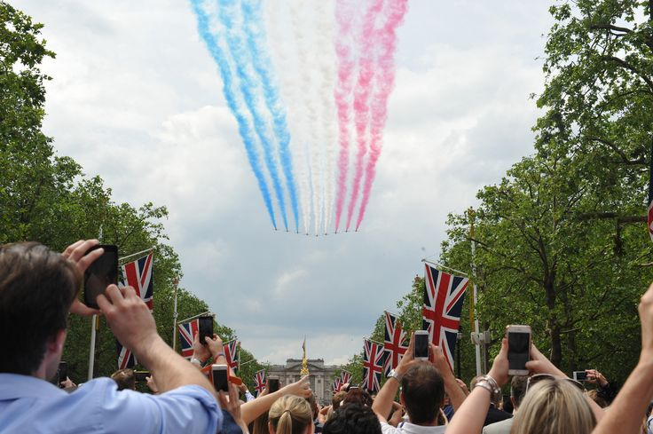 Trooping the Colour 2016 with the Red Arrows flying over The Mall