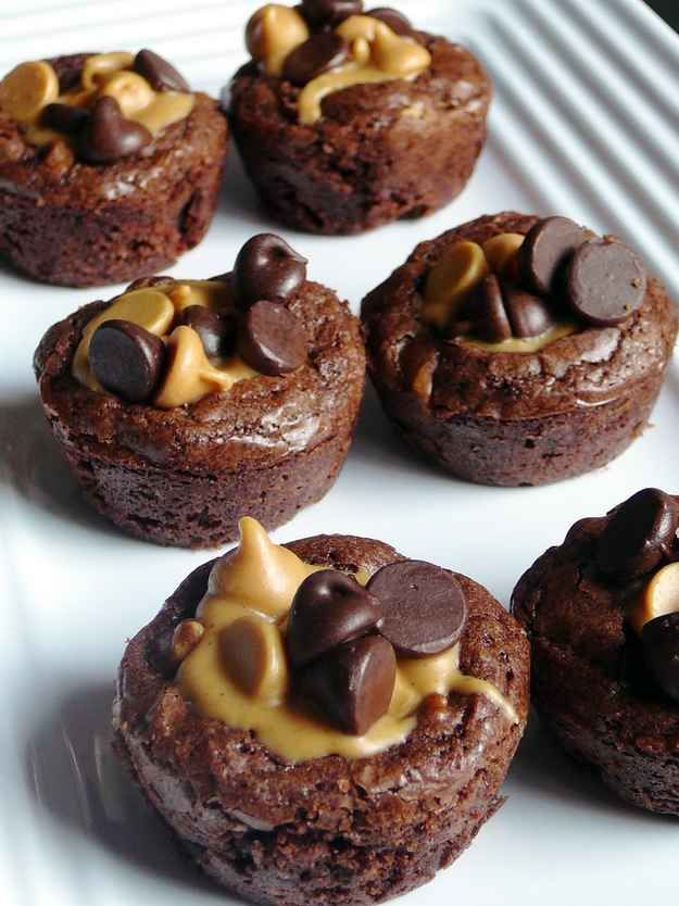 Peanut Butter Cup Brownies! Made in a mini muffin tin.