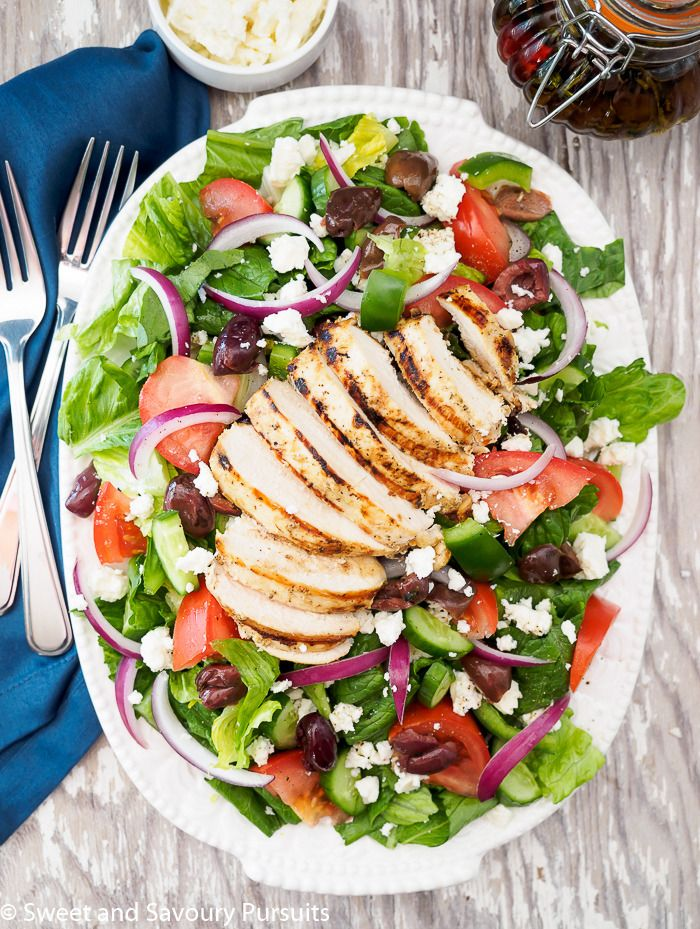 Greek Salad with Grilled Chicken.   This Greek salad with grilled chicken breast makes a delicious light summer meal! http://www.sweetandsavourypursuits.com/greek-salad-with-grilled-chicken/