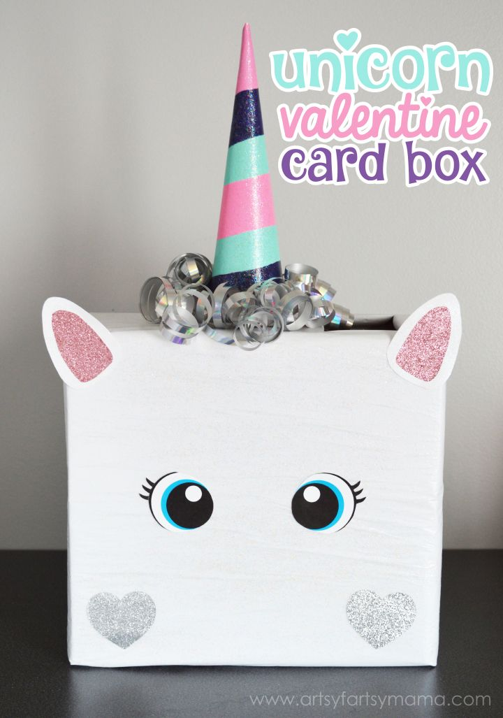 Unicorn Valentine Card Box at artsyfartsymama.com // Such a cute Valentine's Day Craft