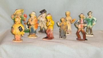 Nine Marx Hard Plastic People Figures