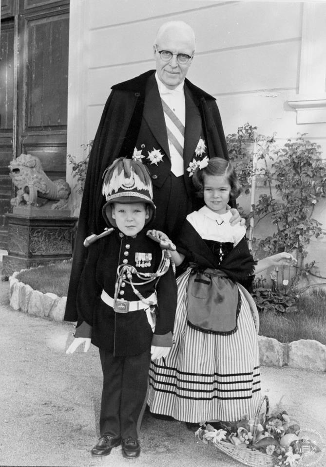 Monaco's National Day - A young Prince Albert & sister Princess Caroline with Prince Pierre de Polignac