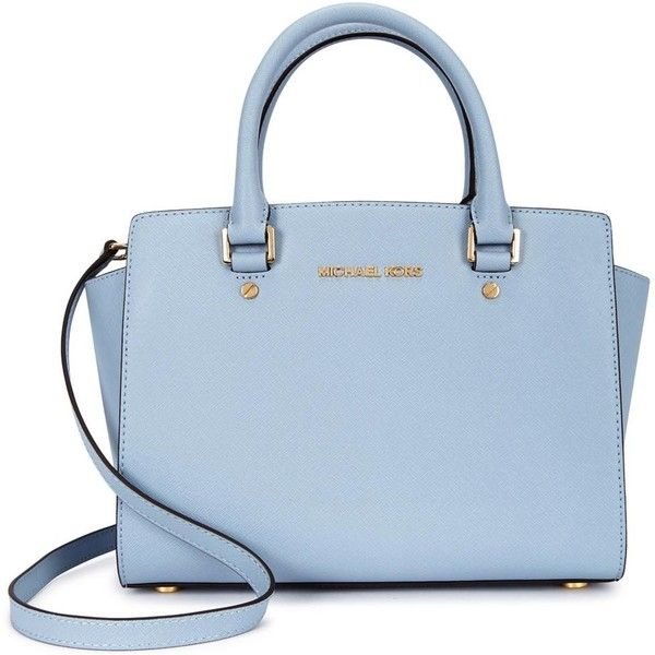 Womens Tote Bags Michael Kors Selma Medium Blue Saffiano Leather Tote (705 RON) ❤ liked on Polyvore
