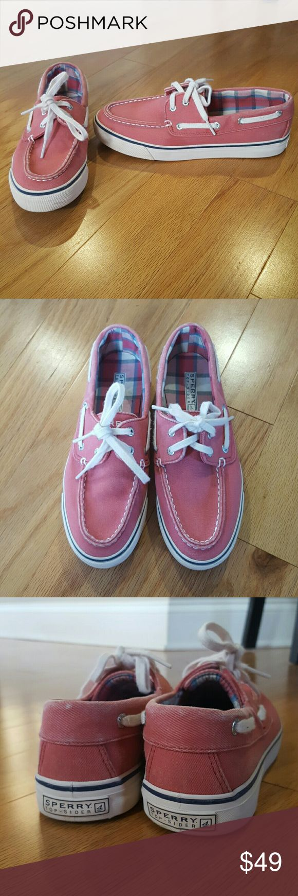 Pink Sperry Top-Sider Shoes Super cute pink shoes from Sperry.  Great used condition and lots of wear left!!  Last two pictures show slight color fade around the top edge of both shoes. Sperry Top-Sider Shoes Flats & Loafers