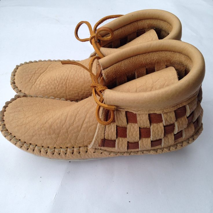 Woven moccasins.