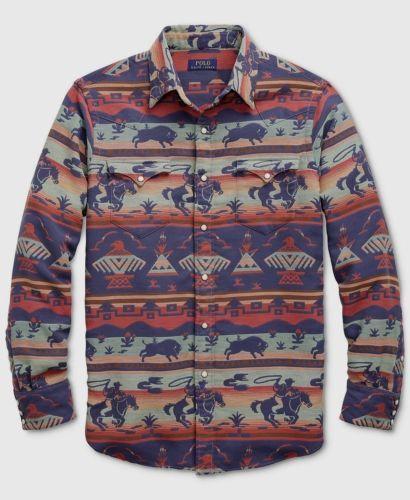 3ba9b9d000 Polo-Ralph-Lauren -Men-Southwestern-Indian-Tribe-Aztec-Western-Cowboy-Rodeo-Shirt
