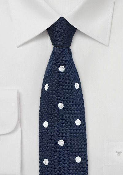 For the trendy dad, a Summer Silk Knit Tie in Blue with White Polka Dots - Gift Ideas For Dad