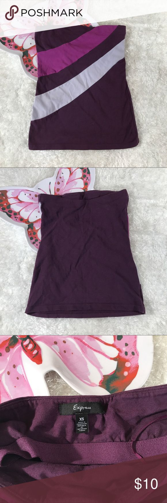Express Asymmetrical Color Block Striped Tube Top Used in good condition. Express Tops