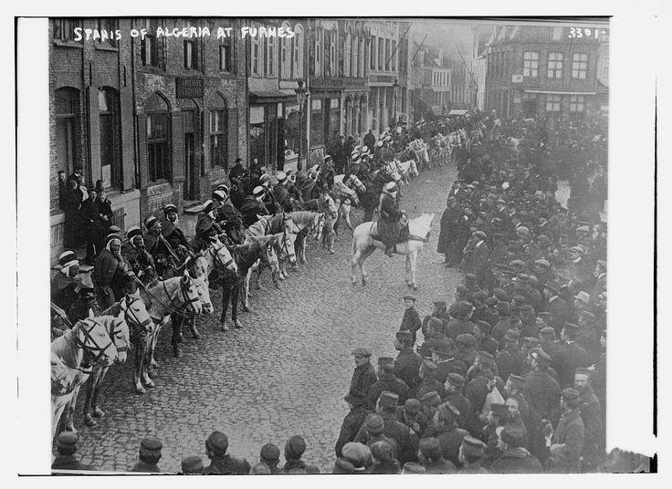 Algerian cavalry on parade during WW1 at Veurne (Belgium)