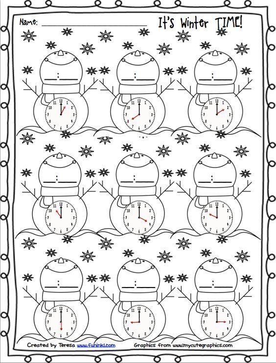 FREE winter printables for telling time.: