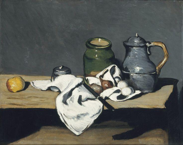 CEZANNE,1867-69 - Pot vert et Bouilloire d'étain - Still Life with Green Jar and Pewter Kettle (Orsay) - 0  -    Cézanne à Pissarro : « Vous avez parfaitement raison de parler du gris, cela seul règne dans la nature, mais c'est d'un dur effrayant à attraper. » (Aix, 23 octobre 1866)  + PICTURES OF DETAILS AND CEZANNE'S OWN WORDS :  www.flickr.com/photos/144232185@N03/collections/721576722...