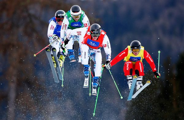 Jonathan Midol of France, Jonas Devouassoux of France, Jean Frederic Chapuis of France and Marc Bischofberger of Switzerland compete in the Men's Ski Cross Finals during the FIS Freestyle Ski and Snowboard World Championships 2015 on January 25, 2015 in Kreischberg, Austria. (January 24, 2015 - Source: Clive Rose/Getty Images Europe)