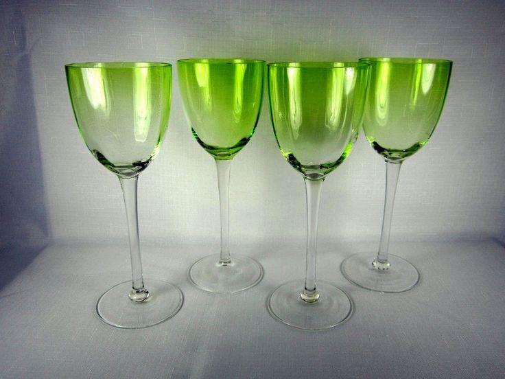 Vintage Crystal Lime Green Bowl Clear Stem Wine Water Goblet Stemware