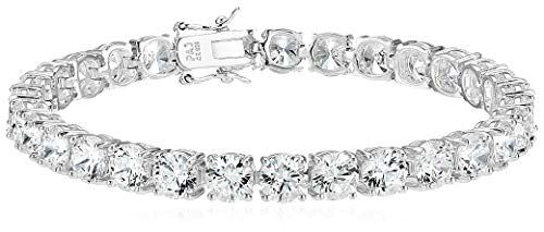 Amazon Essentials Sterling Silver Round Cut Cubic Zirconia Tennis Bracelet (6mm), 7.25″