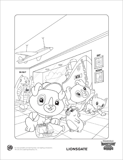 Marvelous Museum of Opposite Words - Coloring Page: In Marvelous Museum of Opposite Words, Scout and Violet learn about opposites, synonyms and word building to unlock clues to the museum's exhibits!