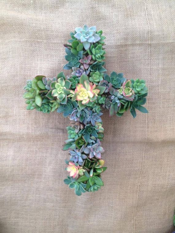 Living Succulent Cross Wreath Easter by WindmillFloralDesign, $75.00