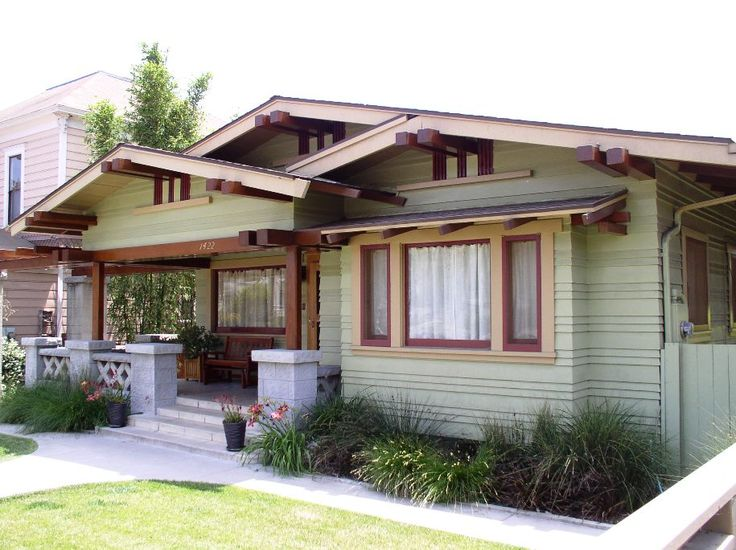 Craftsman style homes were born of the arts and crafts Low pitched roof