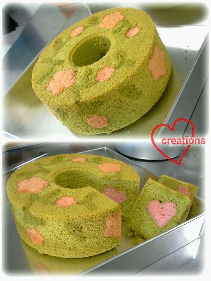 Loving Creations for You: Matcha Azuki Sakura Patterned Chiffon Cake with Hi...