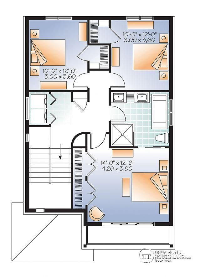 22 best house plans images on pinterest commercial for Narrow house plans with garage underneath