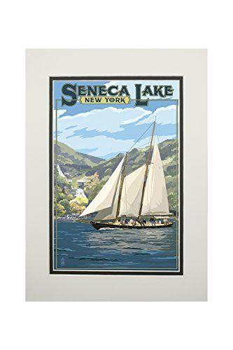 Seneca Lake, New York - Schooner Sailboat on Lake (11x14 Double-Matted Art Print, Wall Decor Ready to Frame)