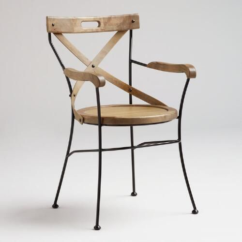"""Inspired by the strength, elegance and portability of British campaign-style furniture, our Campaign Chair is defined by its """"X"""" back design and durable metal frame. Its compact size makes it ideal for a desk, entryway or any area where space is at a premium."""