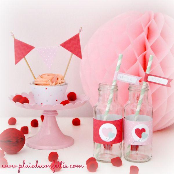"""Heart printable party kit, por LOVEly parties! Kit de fiesta a imprimir """"corazones"""".  www.pluiedeconfettis.com"""