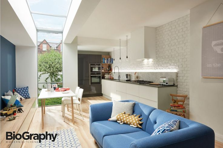 This integrated kitchen and living space is child-friendly, colourful and fun whilst remaining practical.