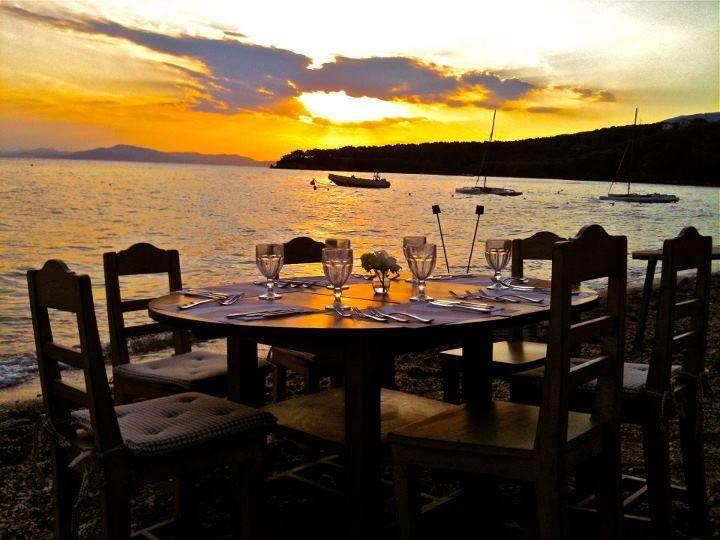 Dining by the beach, Kala Nera, Pelion, Greece