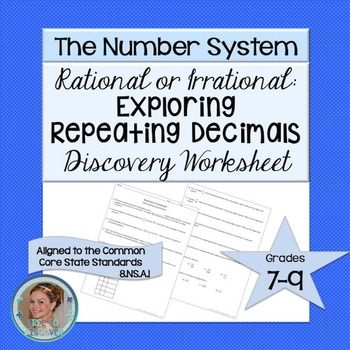 In this repeating decimals activity, students will learn to distinguish between rational and irrational numbers.  Students will also be able to convert repeating decimals to fractions and fractions to repeating decimals.  Brought to you by Free to Discover.This product is part of the Discovery-Based Worksheet Series.