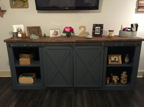 Farmhouse TV Console Tv Stand Wood Farmhouse Country Furniture Sliding Doors Barn Sliding