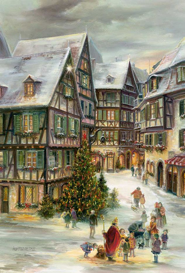 """Colmar, Alsace, France. From Brück and Sohn (Printers in Meissen, Germany since 1793) a charming Advent Calendar of Colmar, Alsace, France depicting a Christmas scene with half-timbered houses and children gathered around Father Christmas. Art by Hopperdietzel. This delightful advent calendar is 10"""" x 15"""". Made in Germany. Available at www.mygrowingtraditions.com"""