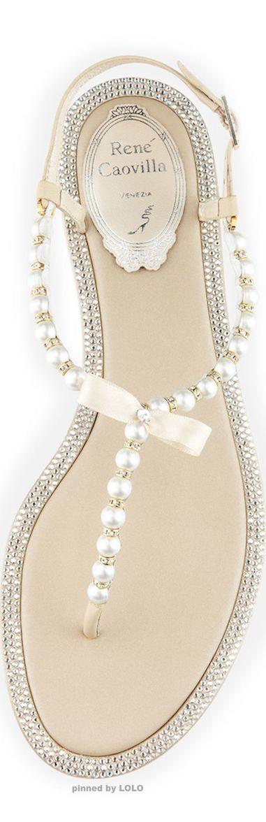 Rene Caovilla pearl and crystal t-strap sandals.