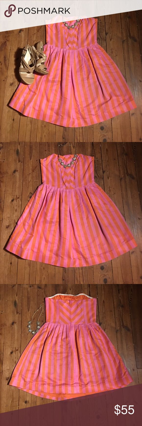 Lilly Pulitzer party dress Stay classy with your new party dress. Pink and orange stripped Lilly Pulitzer dress has only been worn once. Perfect for any occasion from Carolina cup to a cocktail party. You can never go wrong with Lilly. Lilly Pulitzer Dresses Mini