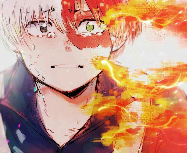 Anime Character Quirks : Todoroki shouto sad crying quirk fire my hero