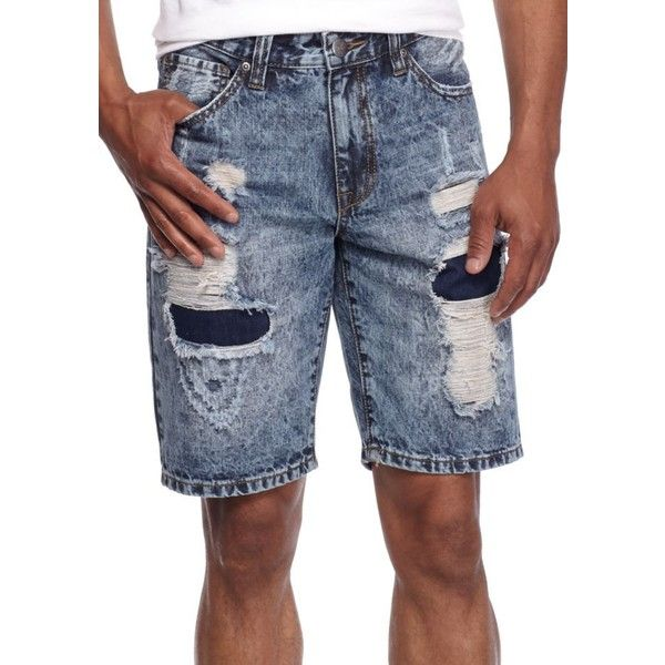 Red Camel Destructed Patch Patched Destruction Denim Shorts ($20) ❤ liked on Polyvore featuring men's fashion, men's clothing, men's shorts, destructed patch, mens distressed denim shorts, mens denim shorts, mens jean shorts, mens distressed shorts and mens ripped jean shorts