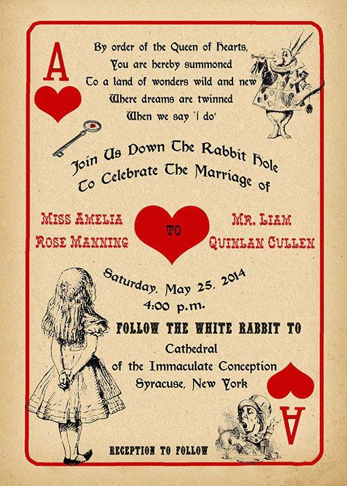 Printable Alice in Wonderland Wedding Invitation and by StudioDMD