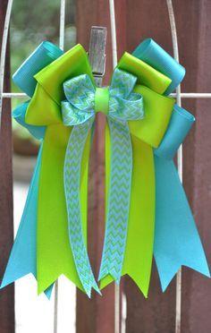Horse Show Hair Bows- Teal Blue, Lime Green, Teal/Green Chevron Equestrian Hair Bow on Etsy, $25.00