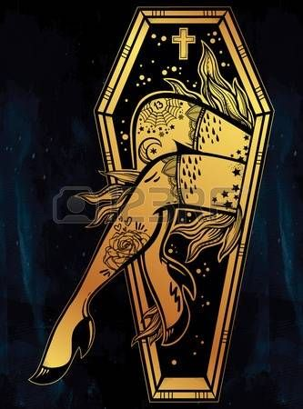 Decorative coffin in flash tattoo style with sexy zombie lady legs and flames. Vector illustration isolated. Pop art design, spooky mystic magic symbol for your use. Vintage and 1990s inspired art. photo